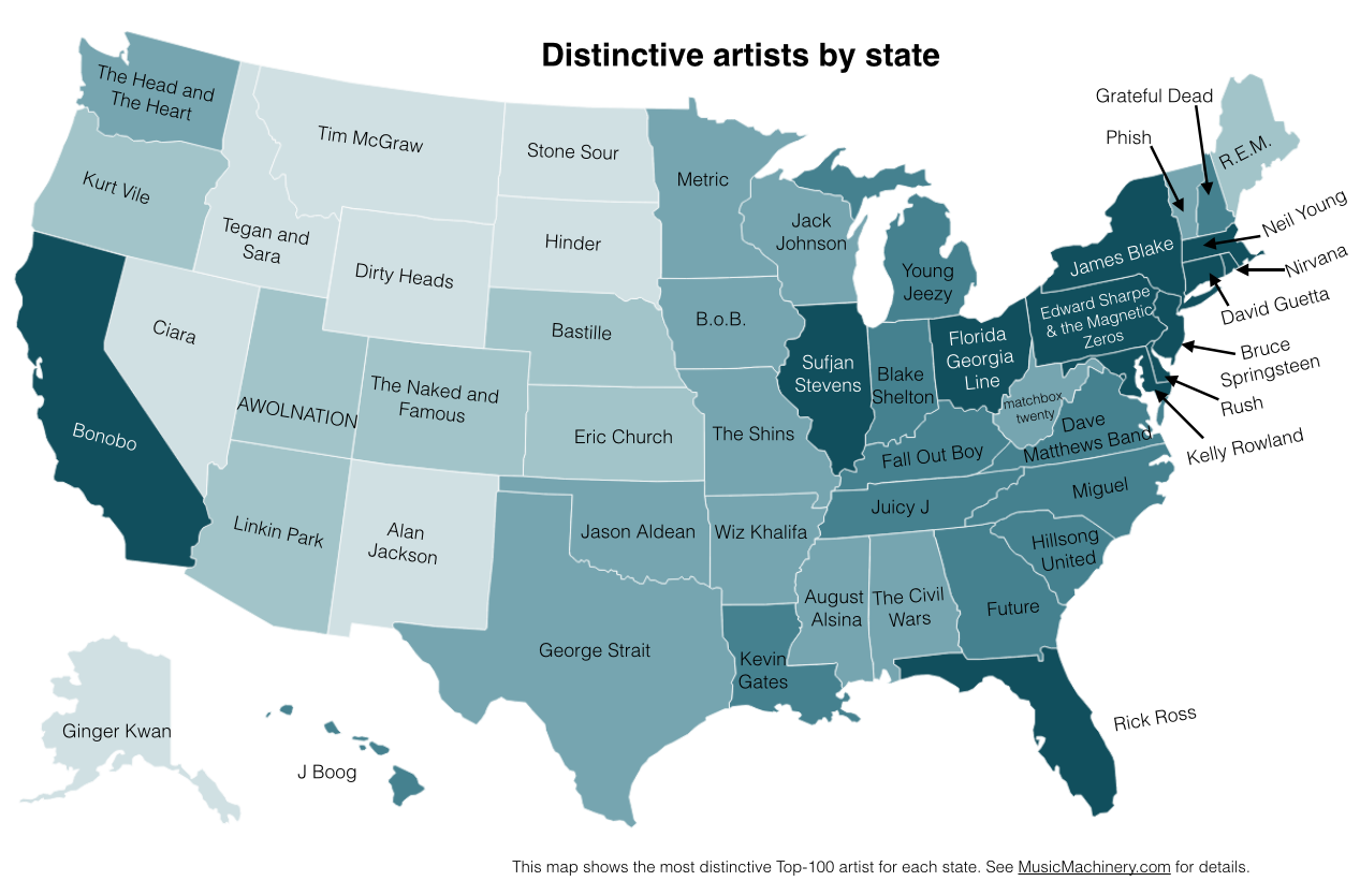 The most popular musical artists by state. (Image: Paul Lamere)